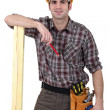 Stock Photo: Carpenter about to mark wood with pencil