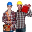Stock Photo: Tradespeople posing with their tools