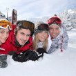 Stock Photo: Friends on a skiing holiday together