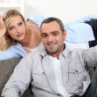 Happy couple resting at home — Stock Photo #10848301