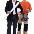 Architect with an electrician - Stock Photo