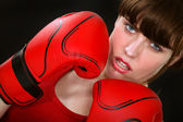 Gorgeous woman with boxing gloves — Stock Photo
