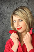 Seductive blond wearing red lip-stick — Stock Photo