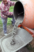 Craftsman making cement — Stock Photo