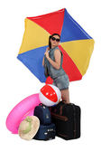 Woman leaving for a warmer climate — Stock Photo