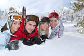 Friends on a skiing holiday together — Stock Photo