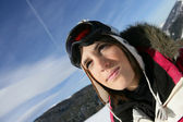 Girl skier — Stock Photo
