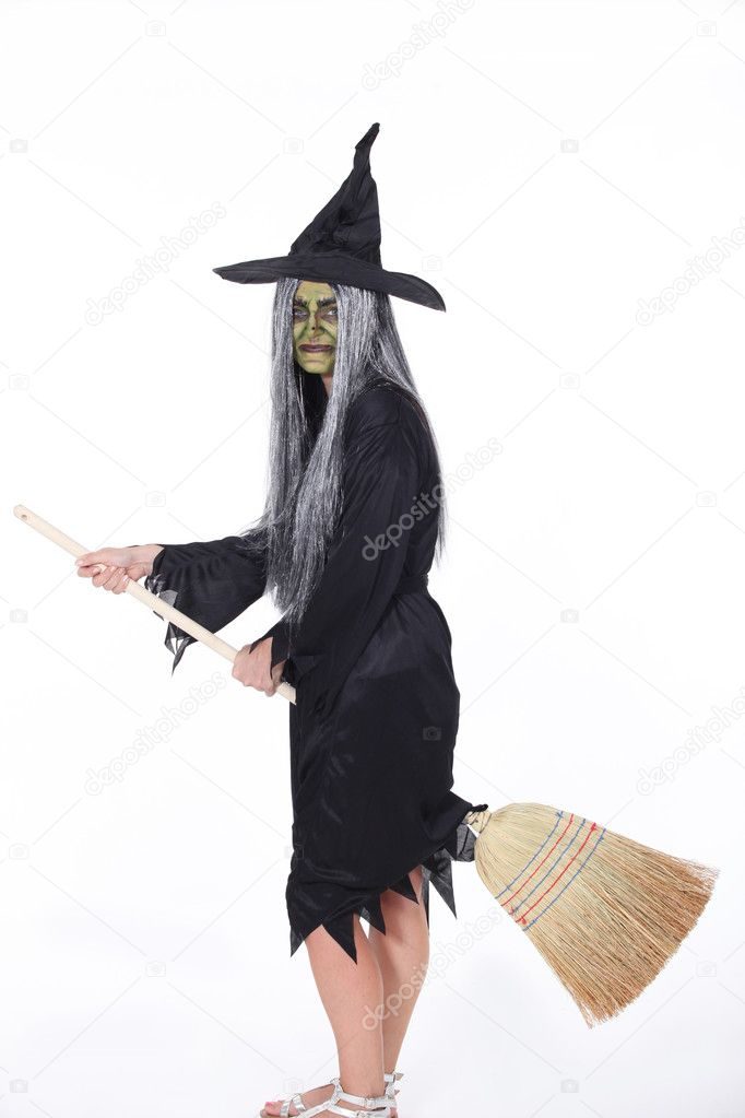 Witch with Broom — Stock Photo #10842007