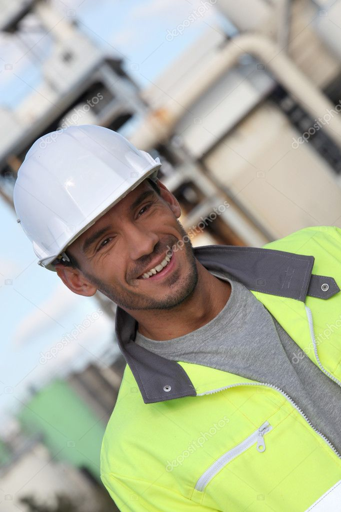 Construction worker in a reflective jacket  Stock Photo #10842760