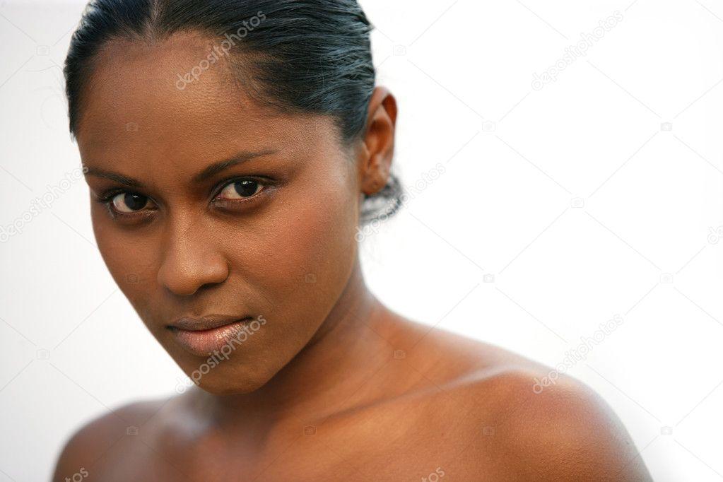 Naked woman on white background — Stock Photo
