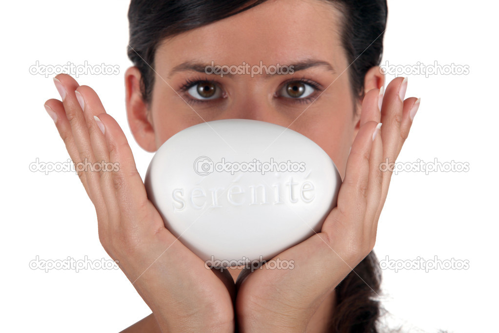 Female holding a bar of soap  Stock Photo #10845277