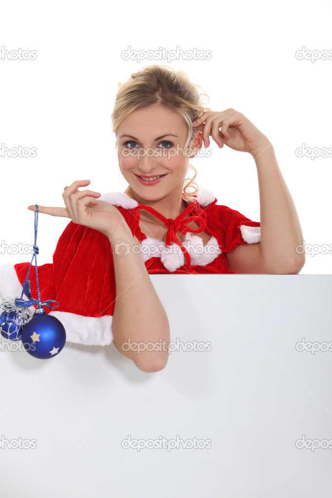 Woman with blue balls — Stock Photo #10848305