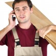 Labourer carrying planks of wood - Stock Photo
