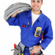 Electrician stood with cabling — Stock Photo #10854495