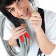 Playful female electrician holding replacement light bulb — Stock Photo