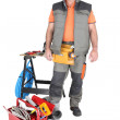 Workman with plumbing equipment and tools — Stock Photo #10856006