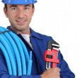 Portrait of a plumber — Stockfoto