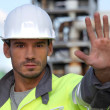 Foreman restricting access — Stock Photo