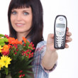 Stock Photo: Florist with phone