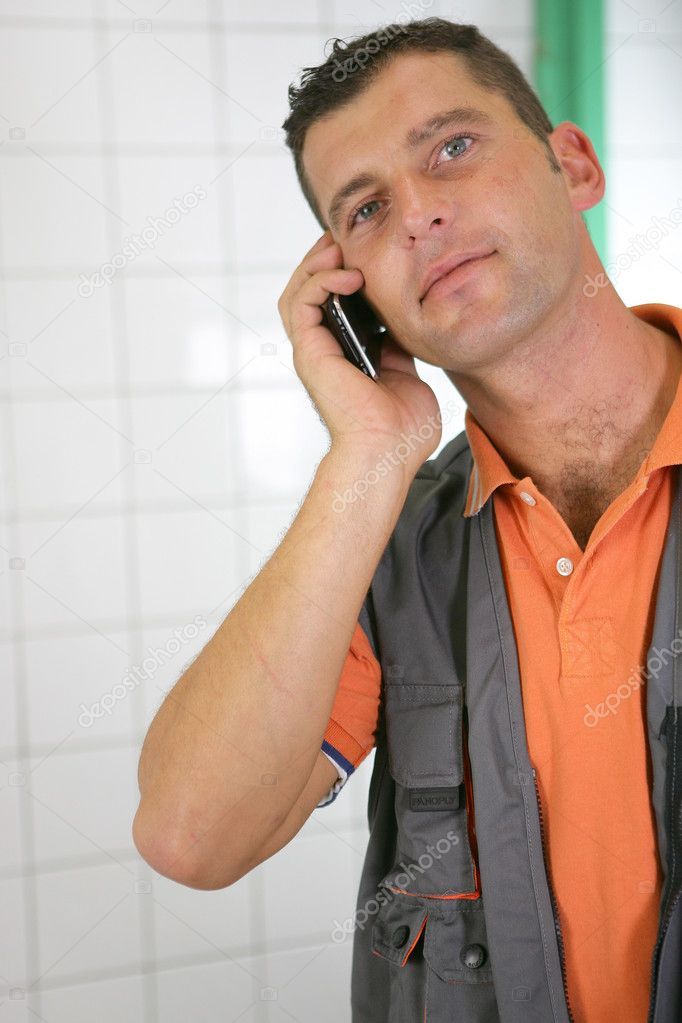 Plumber ordering extra parts — Stock Photo #10854025