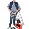 Electrician with a toolbox and stepladder — Stock Photo #10860080