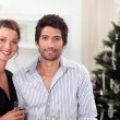 Royalty-Free Stock Photo: Couple posing in front of their Christmas tree