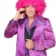 Min Seventies costume and crazy wig on cellphone — Stock Photo #10862116