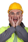 Portrait of expressive building worker — Stock Photo