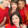 Group of Spanish sports fans — Stock Photo
