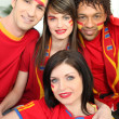 Stock Photo: Group of Spanish sports fans