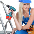 Stock Photo: Bimbo with drill
