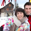 Stock Photo: Couple on skiing vacation
