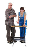 Female student carpenter — Stock Photo