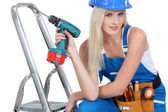 Bimbo with drill — Stock Photo