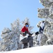 Man snowboarding down snowy hill - Foto Stock