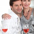 Couple having dinner with rose wine — Stock Photo #10895795