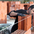 Stock Photo: Worker building a wall