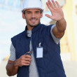 Foreman performing stop gesture — Stock Photo