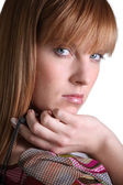 Head shot of gorgeous woman with ginger hair — Stock Photo