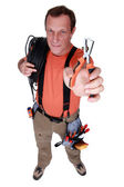 Electrician with specialist wire strippers — Stock Photo