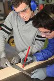 Apprentice joiner — Stock Photo