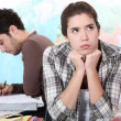 Stressed girl in class — Stockfoto