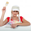 Painter with color chart — Stock Photo #10905129