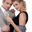 Couple with champagne — Stock Photo #10905302
