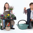 Little girl dressed in florist and a little boy dressed in grape harvester — Foto Stock