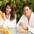 Couple having breakfast in garden — Stock Photo #10906108
