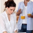 Couple drinking fruit juice in the morning — Stock Photo