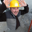Stock Photo: Builder screaming