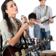 Female vocalist in a band — Stock Photo