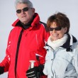 Stock Photo: Couple on a skiing holiday together